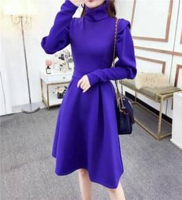 Blue black long sleeve turtleneck office dress RBP