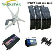 Wind Generator and 3pcs Solar Module for Beginner