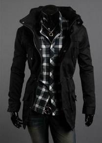 44942 Korean Style Black Multi-Pocket Coat Jacket