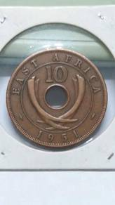 Vintage British East Africa 10 Cent Coin 1951 UNC