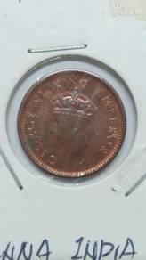 Vintage India King George VI 1/12 Anna Coin 1939
