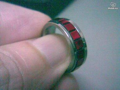 ABRSS-F006 Mens Design Red Silver Stainless Ring