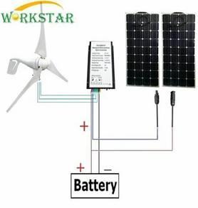Solar Panel + Wind Generator + Hybrid Controller