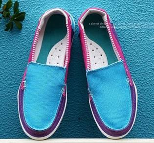 S0252 Loafers Blue Purple Pink Slip On Shoes Kasut