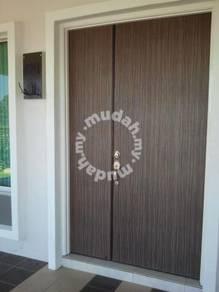 Double leaft wooden door solid door