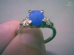ABRSB-C004 Silver Metal Blue Crystal Bead Ring S5
