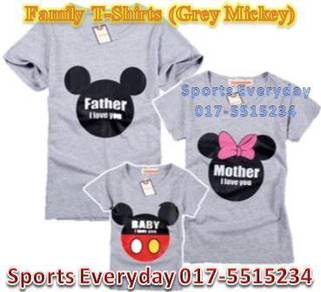 Family Shirts Couple T Baju Keluarga Mickey Grey