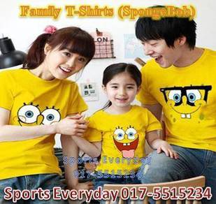Family Shirt Couple T Baju Keluarga Spongebob