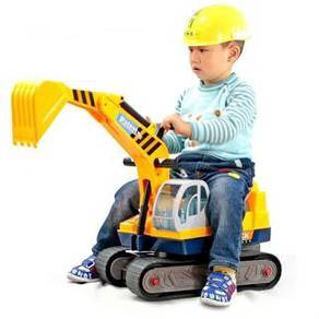 Toy excavator 6 wheel ride on car