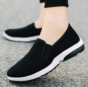 S0269 Slip On Wear Black Breathable Kasut Shoes