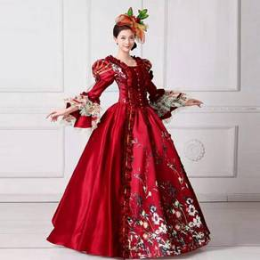 Medieval Victorian Wedding Dress Red Muslimah RBMW