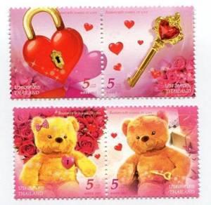 Mint Stamp Symbols of Love Teddy 4v Thailand 2012