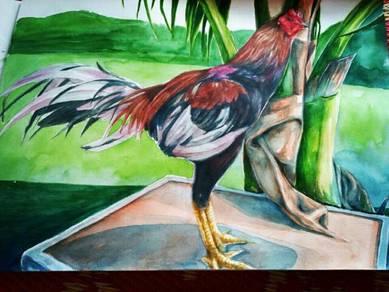 Lukisan ayam sabung