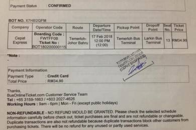 Bus Ticket (TEMERLOH - JOHOR BAHRU)