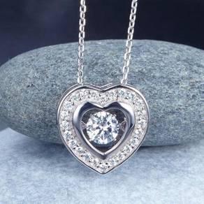 Dancing Stone Heart Pendant Necklace S925