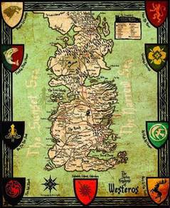 Game of thrones map 7 kingdoms poster