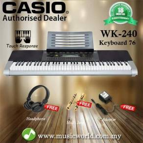 Casio wk-240 76 key portable keyboard with headpho