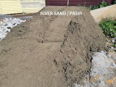 Black topsoil tanah timbus batu stone sand pasir