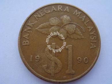 (CN 0003) 1990 Malaysia Keris 1 Coin