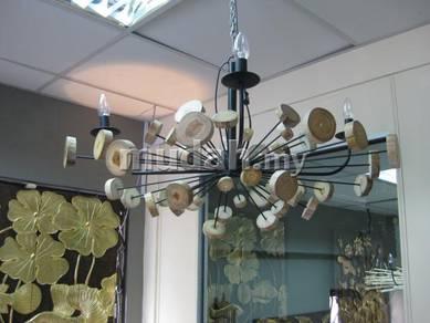 Lighting Chandelier round wood on metal frame