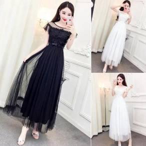 White black bridesmaid dinner prom dress RBP0288