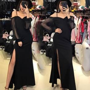 Black slit bridesmaid dinner prom dress RBP0304