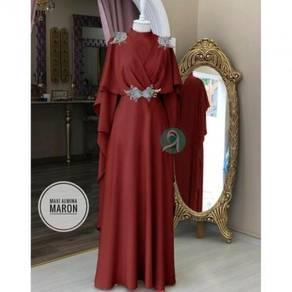 Muslimah Almina set syari dress red grey nude