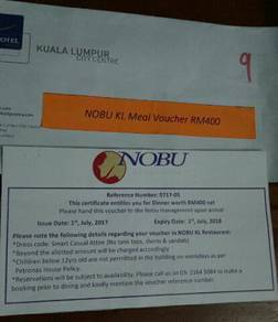 Meal voucher for 2 person at Nobu KL