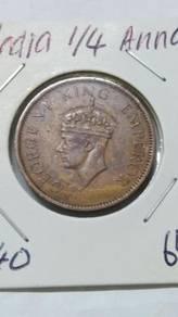 Vintage India King George VI 1/4 Anna Coin 1940