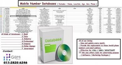DATA BASE Sales Leads (H/p number Listings )5PSR12