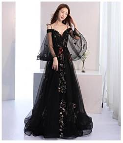 Black off shoulder elegant Wedding dress RBP0497