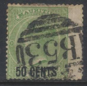 Mauritius qv 1878 surch sg90 used cat 9+ bk104