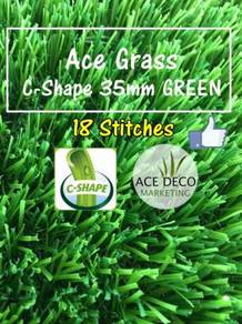 Premium 18 Stitches C35mm GREEN Rumput Tiruan