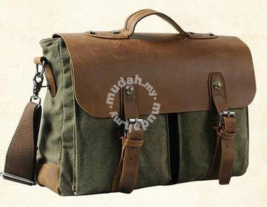 B96524 Retro Army Green Briefcase Laptop Sling Bag