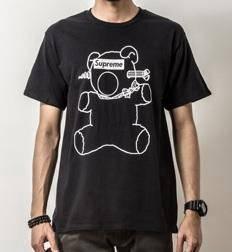 S15445 Japanese Bear Black Short Sleeve T-Shirt