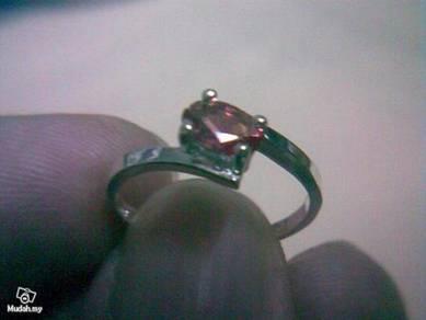 ABRSB-F002 Fashion Silver Pink Bead Ring -Size 5.5