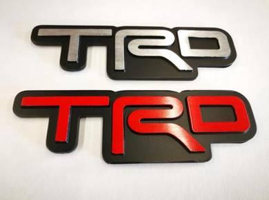 Toyota TRD Emblem Steel Logo 3D Badge Red / Silver