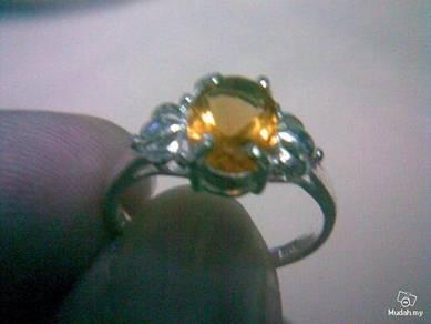 ABRSB-F005 Fashion Silver Golden Bead Ring Sz 6.5
