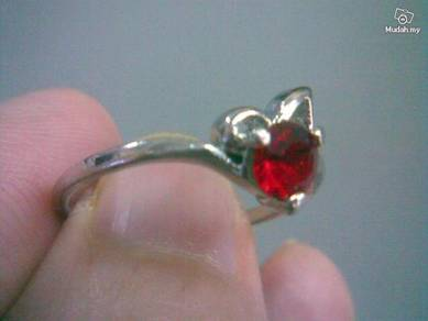ABRSB-R005 RED Gemstone Jewelry Silver Ring 9.5