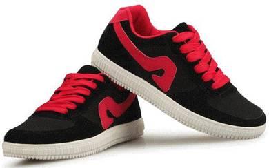 S0244 Black Red Trend Sneakers Skaters Kasut Shoes