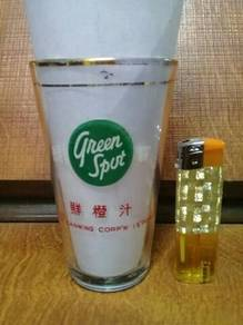 119 Antik gelas green spot not pepsi coke glass A