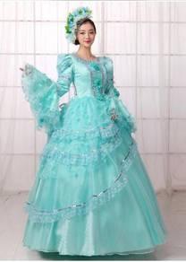 Blue Long Sleeve Muslimah Ball Dress Wedding
