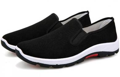 S0267 Black Slip On Breathable Wear Sneakers Shoes