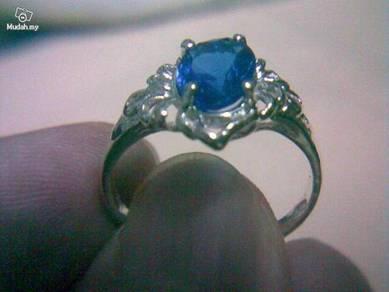 ABRSB-F001 Fashion Silver Blue Bead Ring Size 8