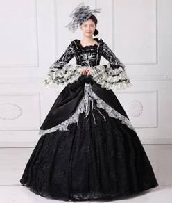 Black Long Sleeve Muslimah Dress Wedding RBMWD0045