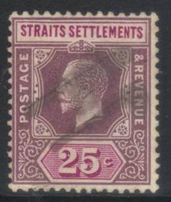SS 1912-1923 KGV 25c SG205b USED CAT £22 BK594