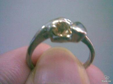 ABRSB-G002 Gold Gemstone Jewelry Silver Ring Sz6.5