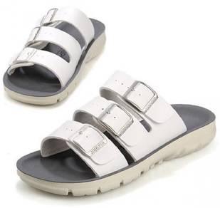 S0235 White Suede Slide Sandal Buckle Slip On Shoe