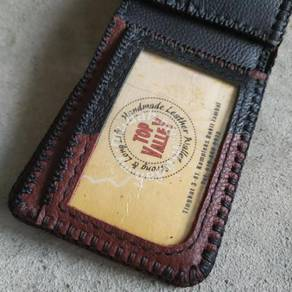Maroon Mix Black Handmade Leather Wallet