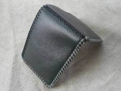 Green mix grey handmade leather wallet